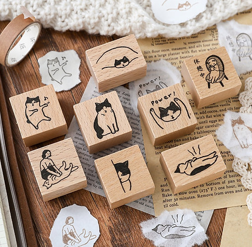 Cats Daily Activity Rubber Stamp (Choose Design)