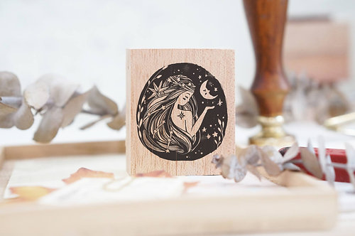 black milk project rubber stamp whimsical portrait moon lady
