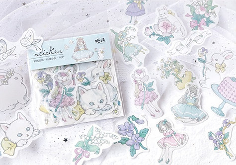 Floral Girl Rabbit Washi Sticker Flakes Pack