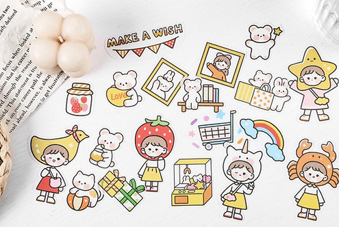 Cute Girl Make A Wish Sticker Flakes Pack