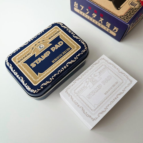 Shachihata Vintage Commemorative Stamp Pad Tin with Memo Pad Blue