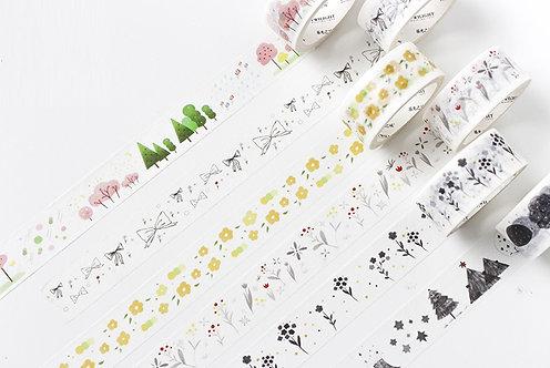 botanical washi tape, floral, flower, plants, tree, leaves
