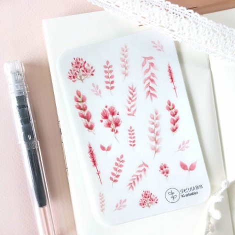 Laabiri Scarlet Leaves Transparent Sticker