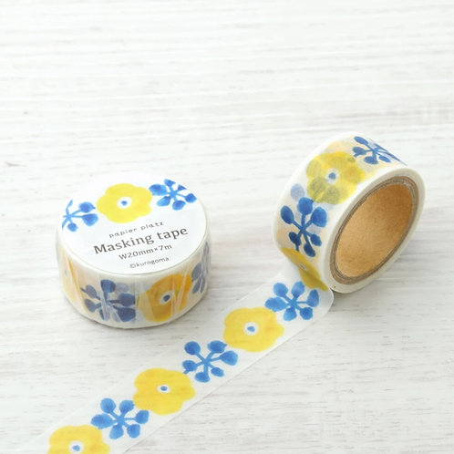 Papier Platz Kurogoma Washi Tape Yellow Flower