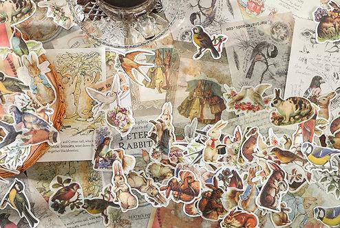 Rabbit Bird Sticker Flakes Paper Ephemera Pack