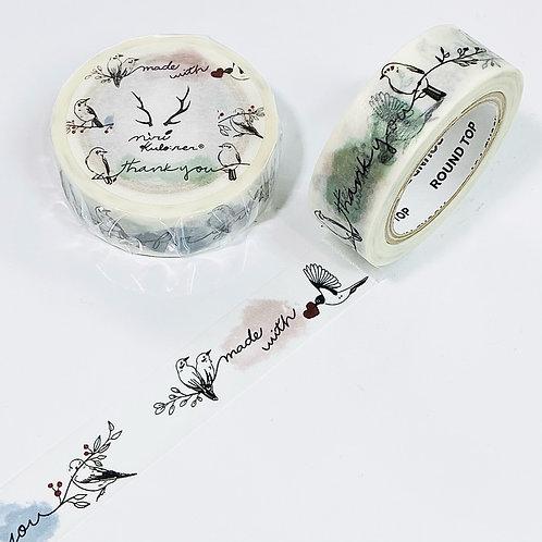 Round Top x MiriKulo:rer Washi Tape - Message With Bird