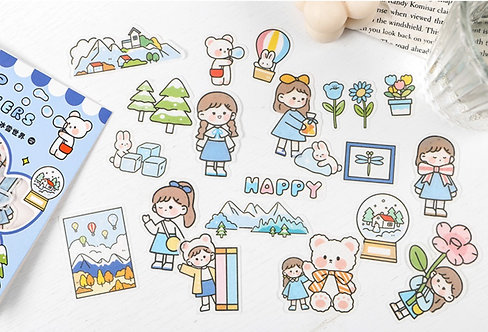 Happy Cute Girl Sticker Flakes Pack