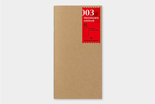 Traveler's Notebook 003 Blank Refill, Regular Size