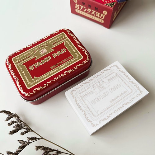 Shachihata Vintage Commemorative Stamp Pad Tin with Memo Pad Red
