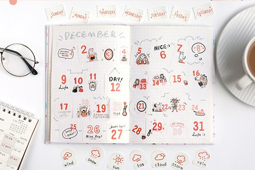 red theme daily planner sticker