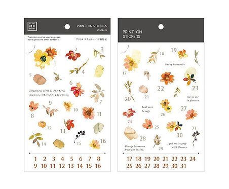 MU Print-On Sticker - Date Small Florals 167