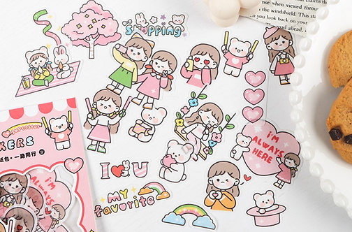 Cute Girl Love Sticker Flakes Pack