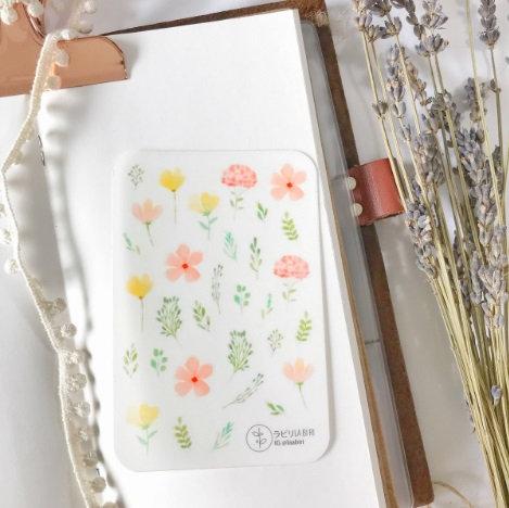 Laabiri Yellow pink floral transparent sticker