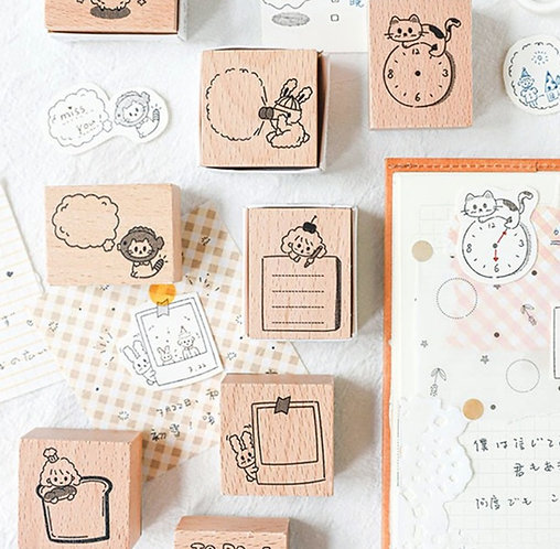 Cute planner rubber stamps