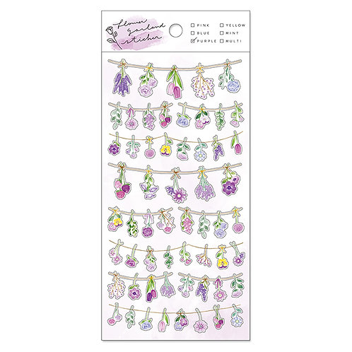 Mind Wave Flower Garland PET Sticker - Purple