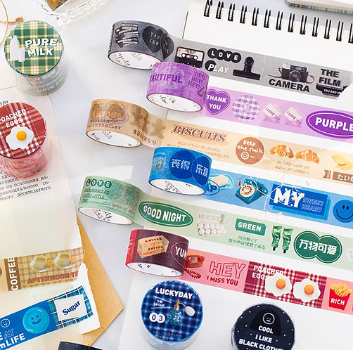 Cute Food and Label Washi Tapes (2 tapes)