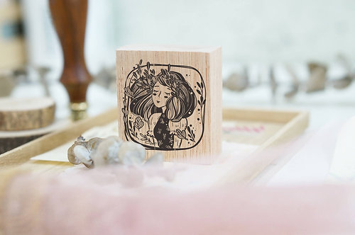 Black Milk Project rubber stamp Whimsical portrait marigold