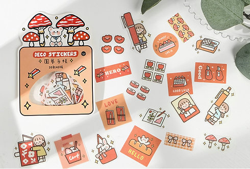 cute stationery girl sticker flakes