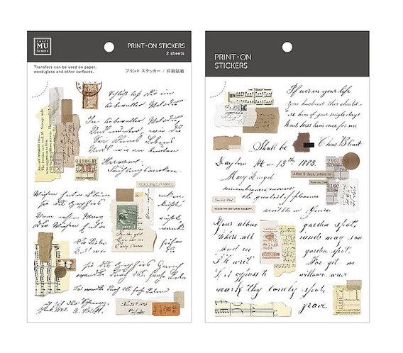 MU Print-On Sticker - Handwritten Notes 162