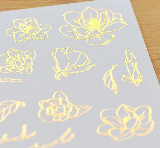 MU Gold Foil Print-On Sticker - Magnolias 04