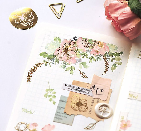 MU Gold Foil Print-On Sticker - Flower Bloom 03