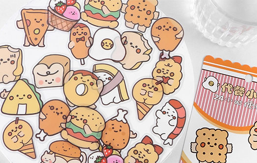 cute food stickers PET pack