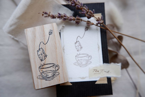 labiri tea cup rubber stamp