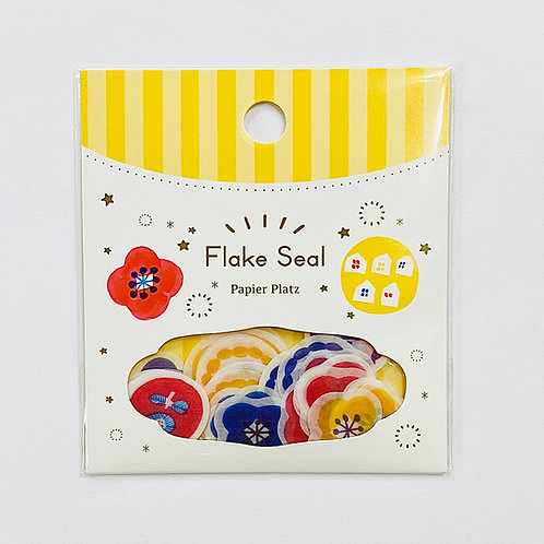 papier platz kurogoma flower and bear washi sticker flakes