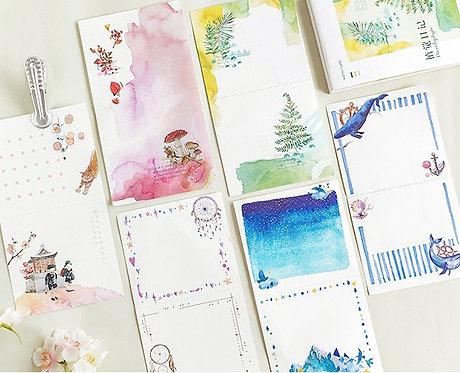 Pretty Watercolor Memo Sheets (tearable) (Choose Design)
