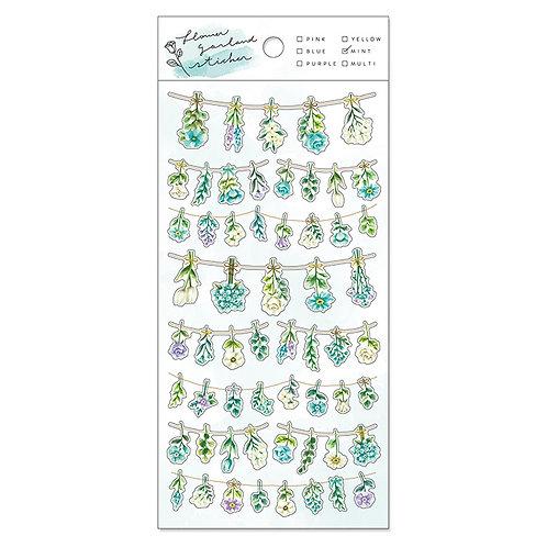 Mind Wave Flower Garland PET Sticker - Mint