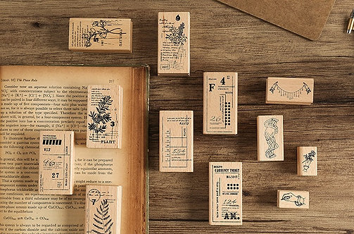 botanical ticket rubber stamp