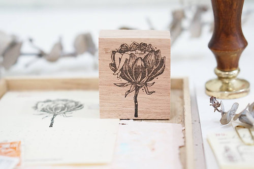 Black Milk Project rubber stamp floral tub
