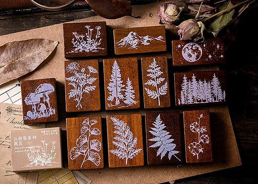 leaves, fern rubber stamps, plants stamp, nature, botanical rubber stamp