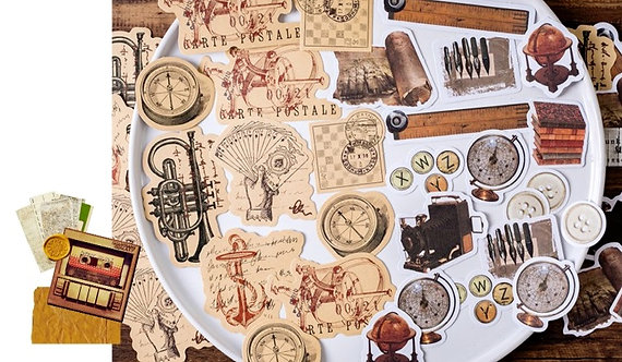 Vintage Study Room Things Sticker Flakes Pack