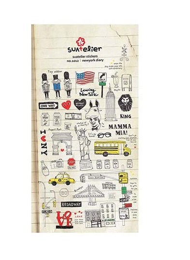 Suatelier stickers, new york diary, travel stickers, cute stickers