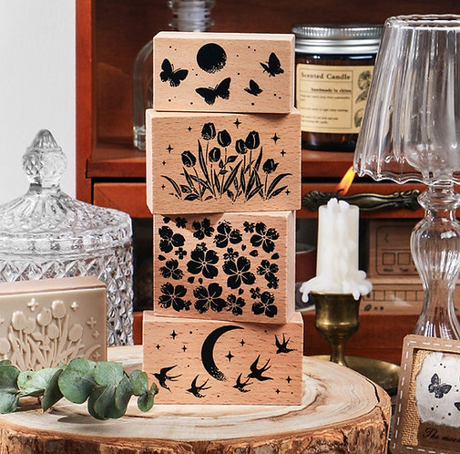 Floral, Moon, Butterfly Rubber Stamp (Choose Design)