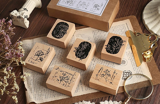 botanical plants rubber stamps