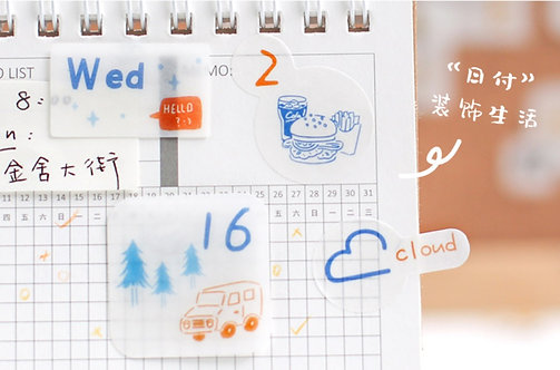Blue Theme Daily Planner Sticker Flakes Pack