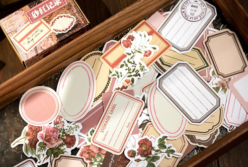 red label frames and floral stickers box