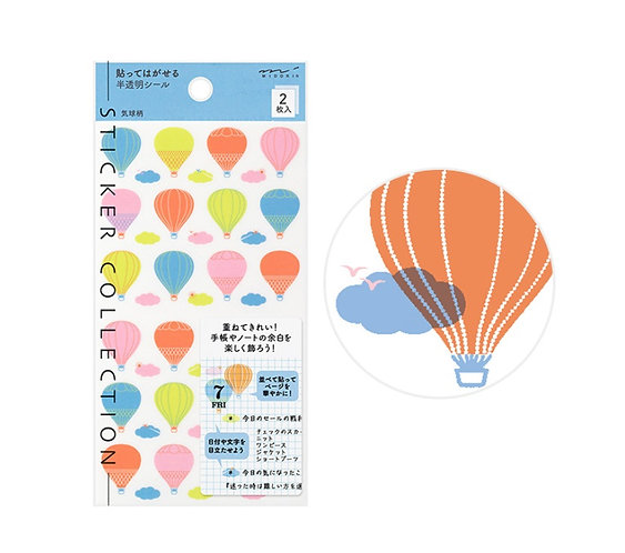Midori Planner Stickers Hot Air Balloon