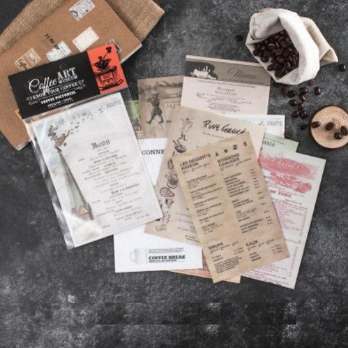 vintage cafe menu papers