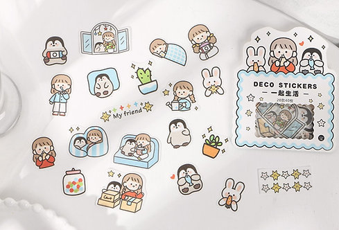 cute girl, rabbit and penguin sticker flakes