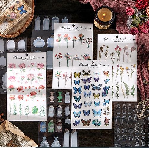 Plants and Vases PET Sticker Sheets (Choose Design)