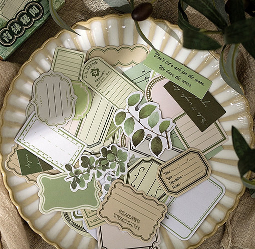 green frames and floral sticker box