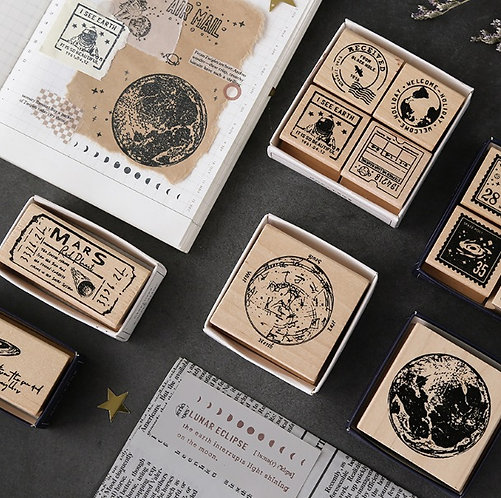 outer space rubber stamps