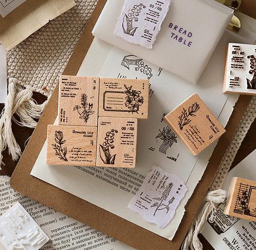Retro Floral Rubber Stamp (Choose Design)