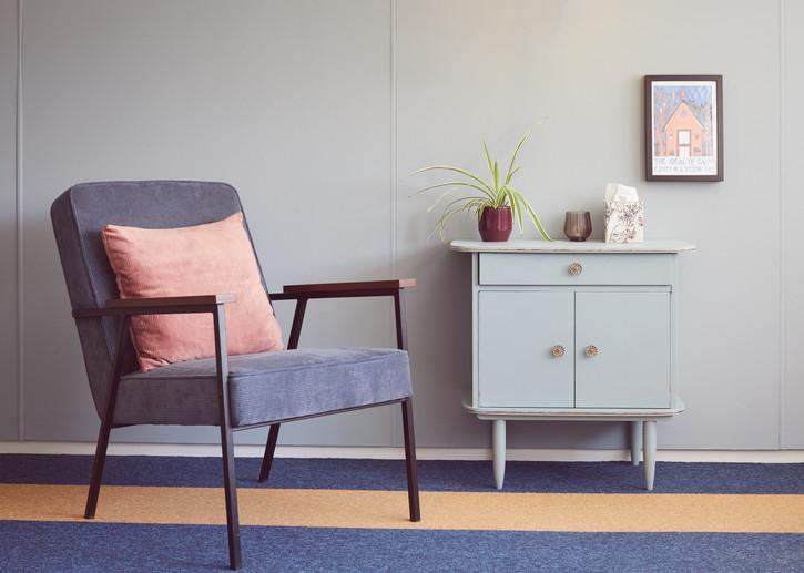 Blauwe stoel, kamer Tulp