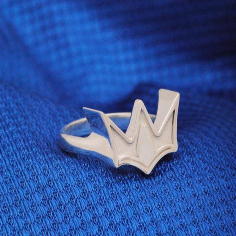 anillo corona de plata
