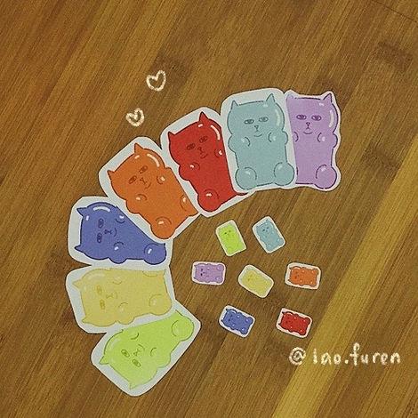 lao.furen gummy cat stickers illustration