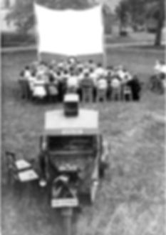 1947 photo of a 'Wanderkino' or a touring cinema from the Soviet Occupation Zone of Germany.